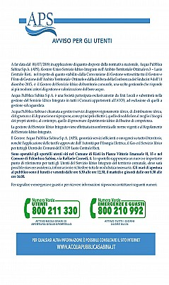 Manifesto inizio gestione APS
