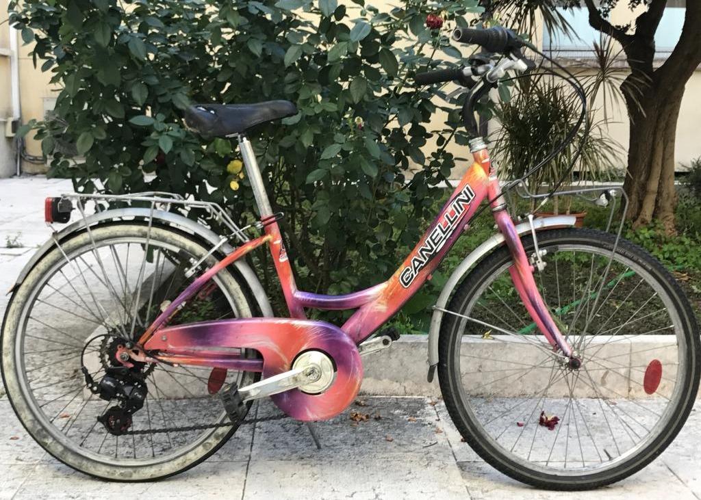 Bicicletta Da Donna Di Colore Rosalilla Sfumata Marca Canellini