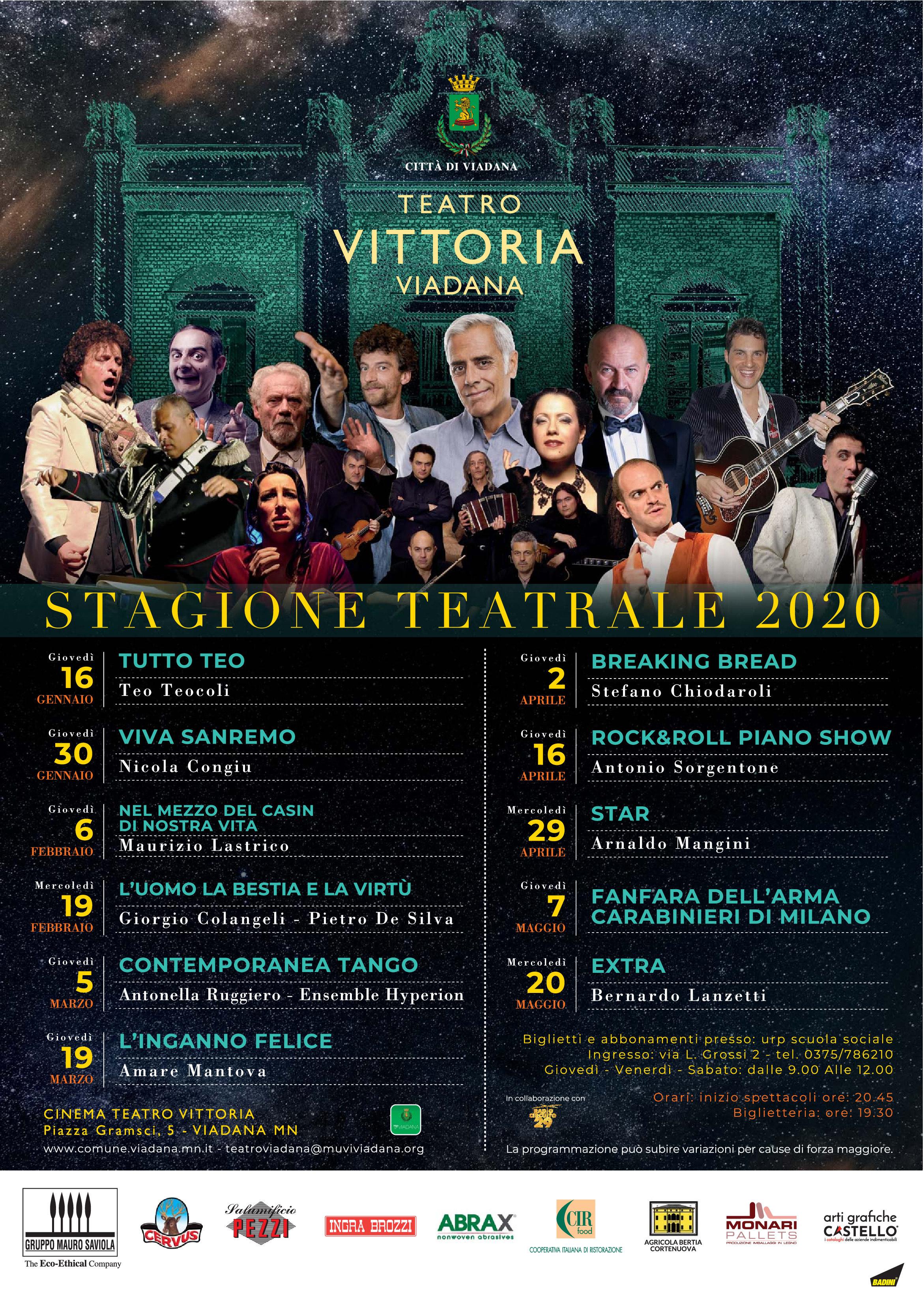16/01/2020 - PROGRAMMA STAGIONE TEATRALE 2020