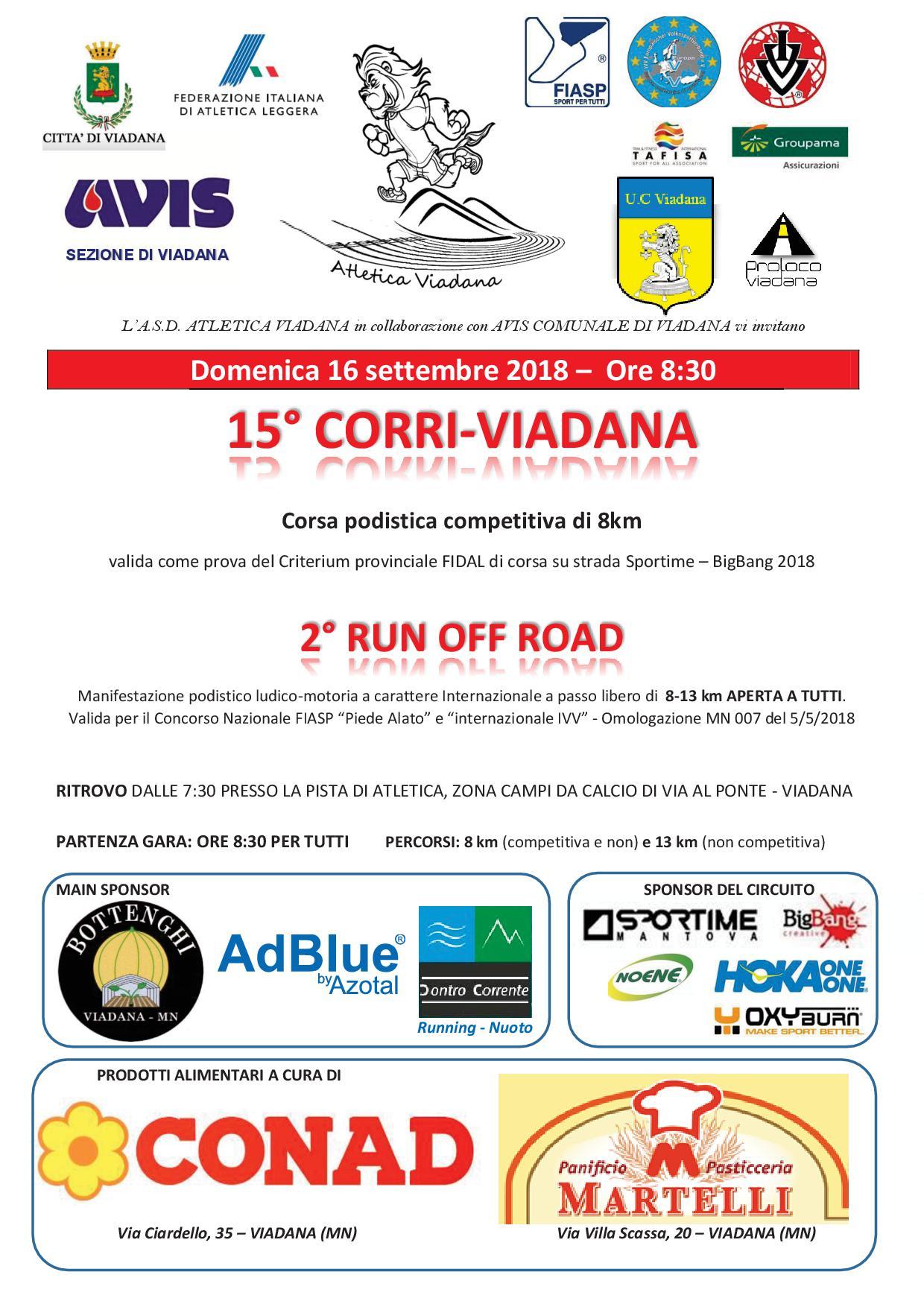 """16/09/2018 - 15° """"Corri Viadana"""" - Corsa podistica competitiva di 8 Km e 13 Km"""