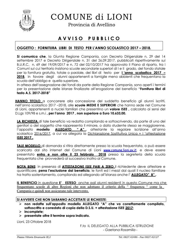 e418722c58 FORNITURA LIBRI DI TESTO PER L'ANNO SCOLASTICO 2017 – 2018 .