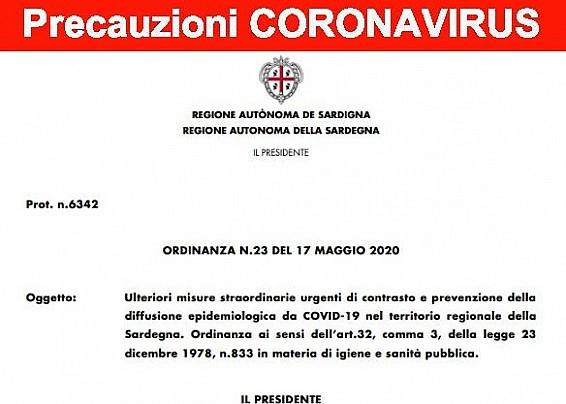 Ordinanza R.A.S. n. 23 del 17.05.2020