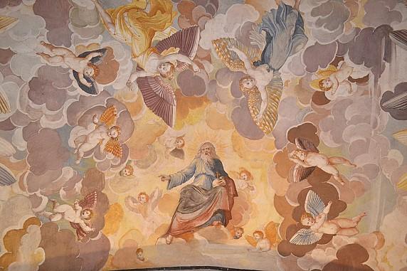 soffitto affrescato della cripta