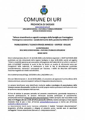 25.05.2020 allegato det. 31  PUBBLICAZIONE 1° ELENCO ISTANZE AMMESSE – SOSPESE - ESCLUSE_pages-to-jpg-0001