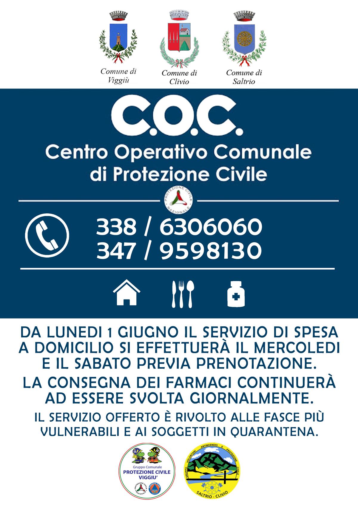 Aggiornamento sul C.O.C. - Emergenza Coronavirus