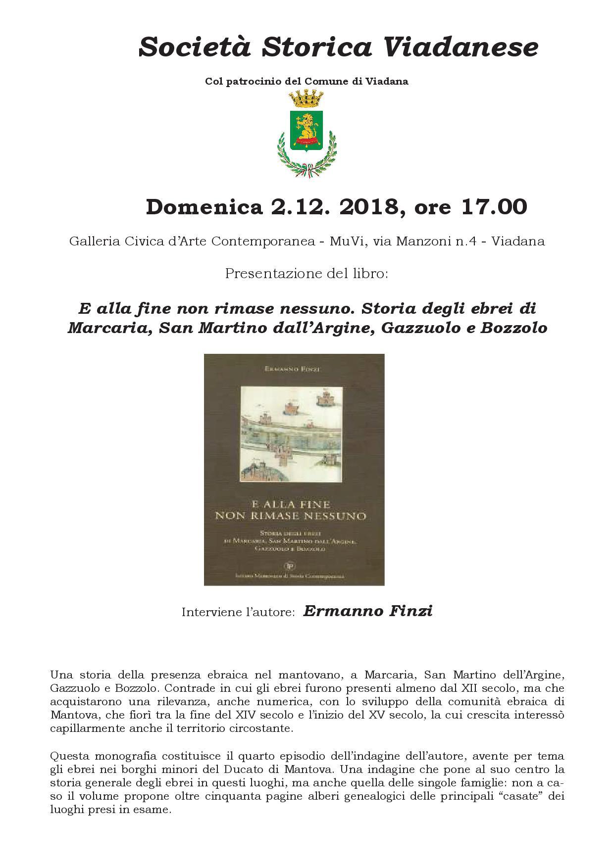 """02/12/2018 - Società Storica Viadanese - presentazione del libro """"e alla fine non rimase nessuno... """"Interviene Ermanno Finzi"""