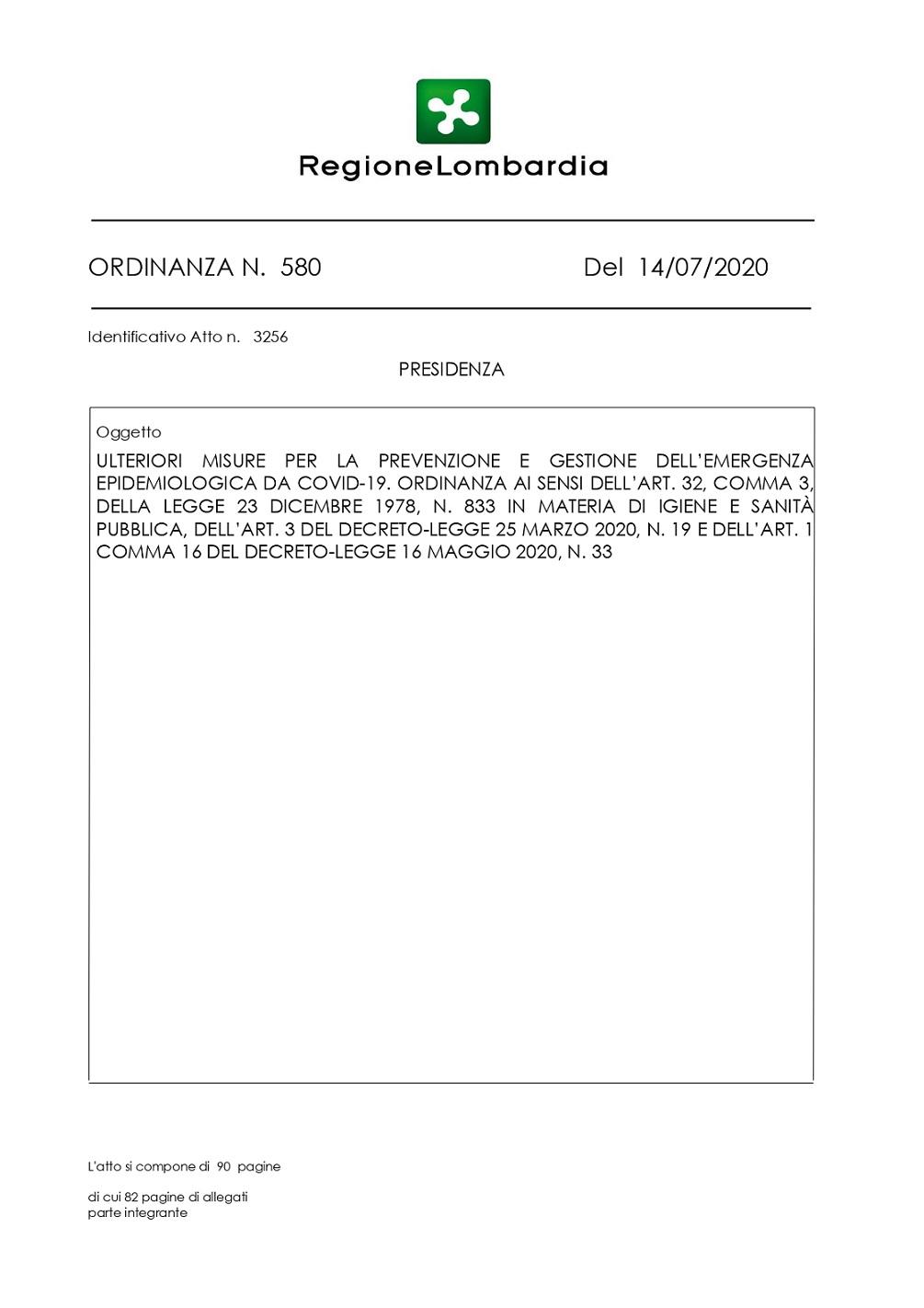 Ordinanza del Presidente della Lombardia del 14 Luglio 2020