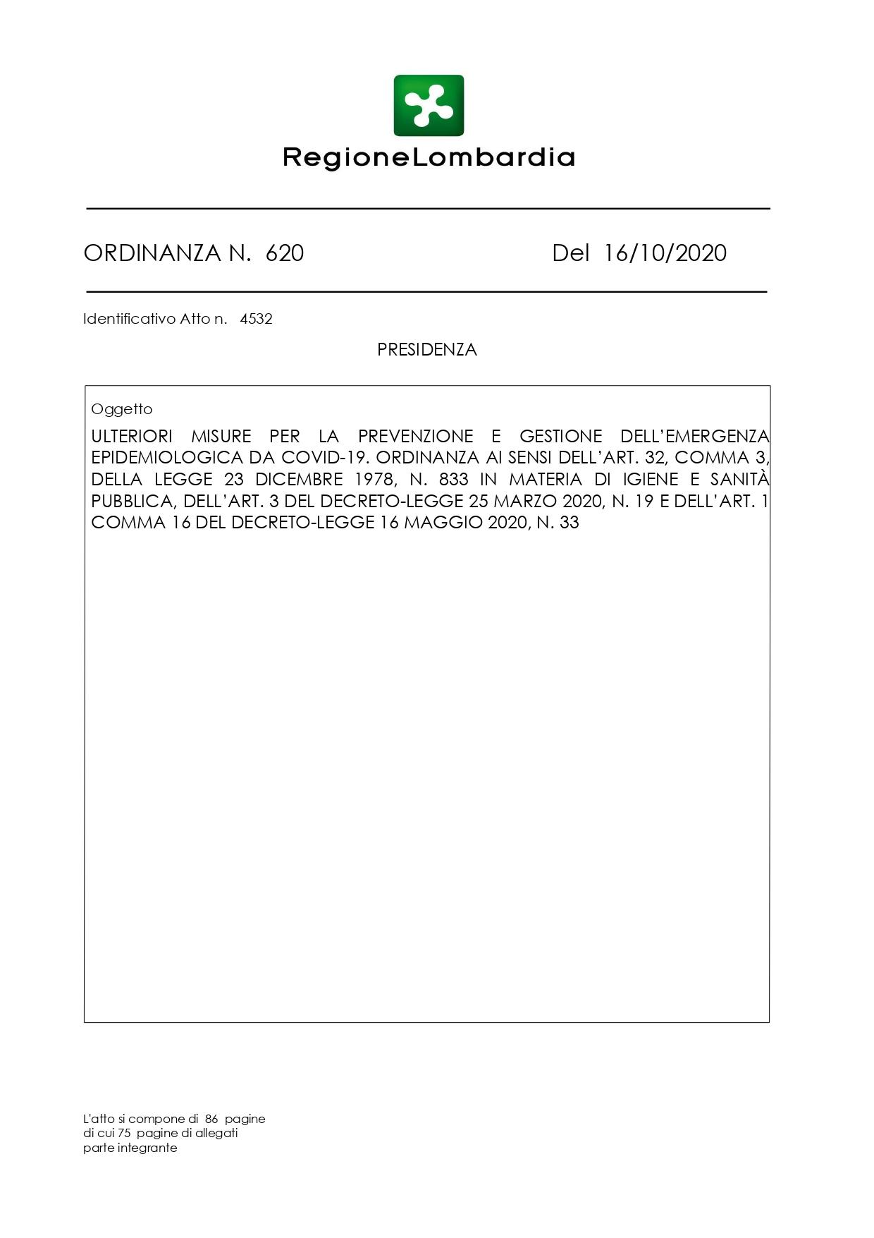Ordinanza del Presidente della Lombardia del 16 Ottobre 2020
