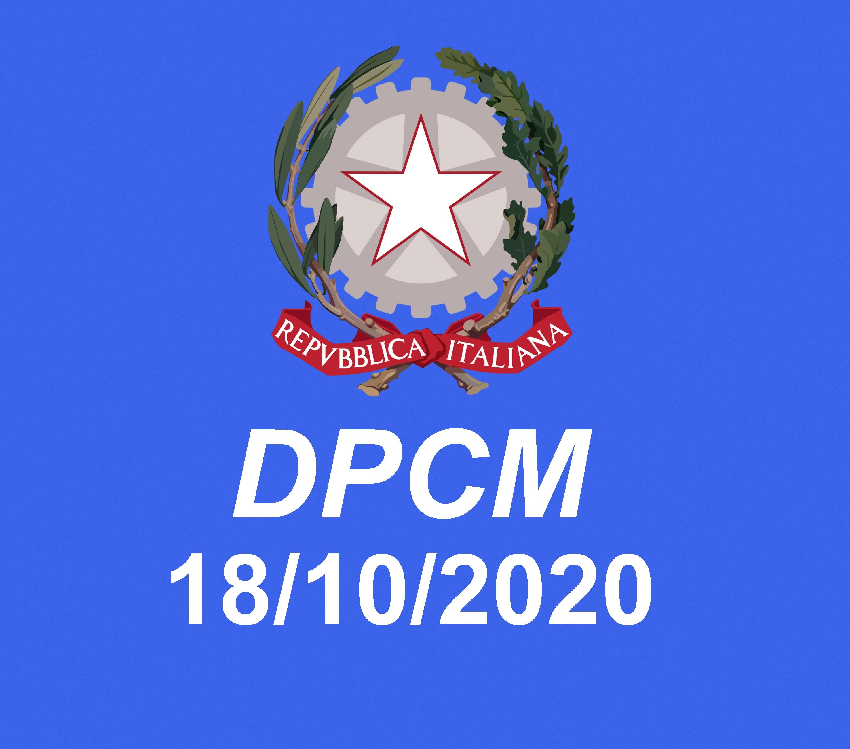 DPCM del 18 ottobre 2020