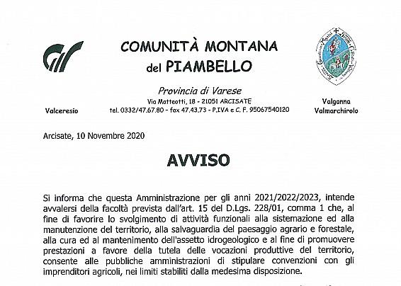 AVVISO DELLA COMUNITA' MONTANA DEL PIAMBELLO