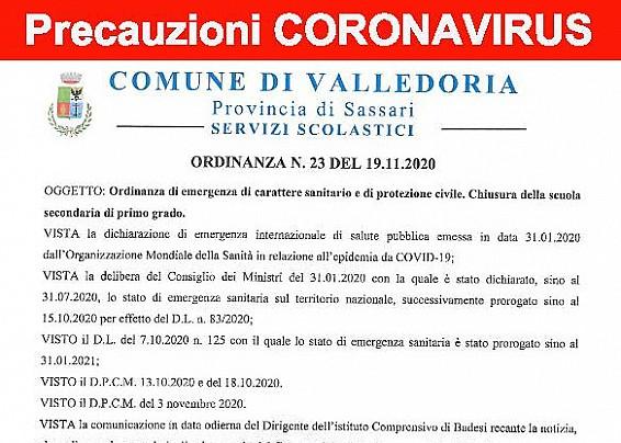 ORDINANZA N. 23 DEL SINDACO DEL COMUNE DI VALLEDORIA DEL 19/11/2020