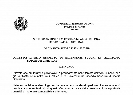 ORDINANZA DIVIETO ACCENSIONE FUOCHI
