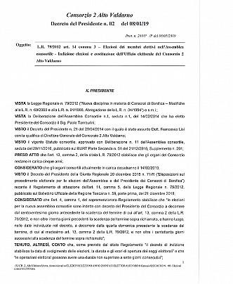 DECRETO DEL PRESIDENTE pag.1-3 - INDIZIONE ELEZIONI CONSORTILI
