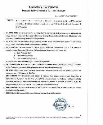 DECRETO DEL PRESIDENTE pag.3-3 - INDIZIONE ELEZIONI CONSORTILI