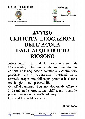 Avviso mancanza acquedotto Riosono