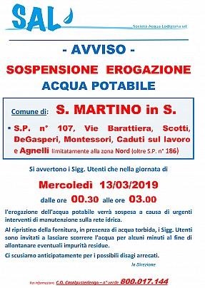 S.MARTINO IN S. - sospensione x lavori - 13 Marzo