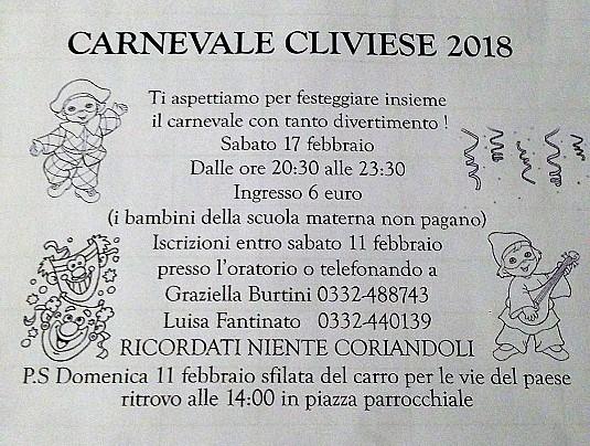 Volantino Carnevale in Oratorio