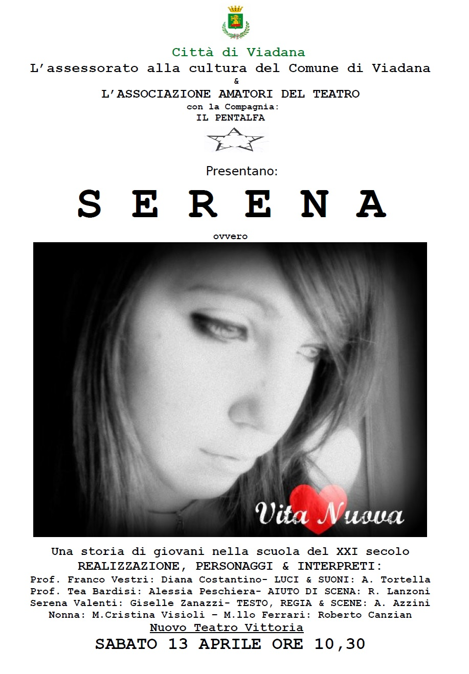 """13/04/2019 - """"Serena"""" spettacolo teatrale dedicato alla tematica del bullismo"""